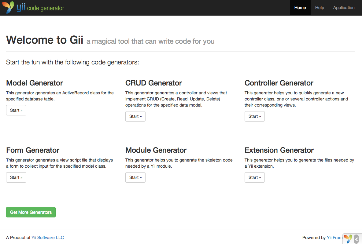 Getting Started: Generating Code with Gii | The Definitive Guide to